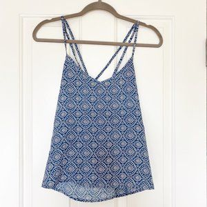 Hollister Blue and White Printed Chiffon Tank Top
